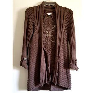 Xhilaration Brown Open Cardigan Tunic Sweater